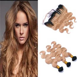 ombre hair frontal Canada - Honey Blonde Ombre Hair With Lace Frontal Closure 4Pcs Body Wave #1B 27 Two Tone Dark Root Ombre Human Hair Wefts With Frontal