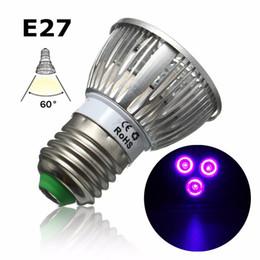 PurPle sPotlight bulb online shopping - 3W LED Grow Light E27 B22 GU10 UV Ultraviolet Purple LED Spotlight Bulb Plant Lamp Greenhouse Hydroponics System AC85 V
