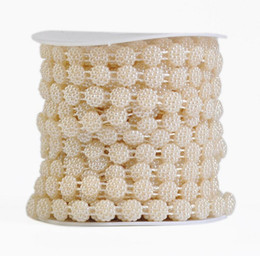 China Type-3 1 Spool Flower Shape ABS Pearl Garland Cake Banding Trim Ribbon For Sewing Wedding Party Centerpiece Decoration supplier pearls for flower decorations suppliers