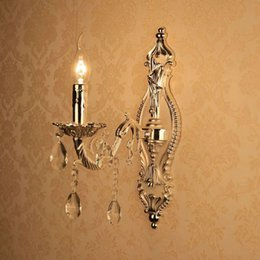 $enCountryForm.capitalKeyWord Canada - European Silver Torch Carved Alloy Clear Crystal Corridor Wall Lights Bedroom Bedsides Wall Sconces Candle Style Living Room Wall Lighting F