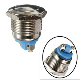 push button engine starter UK - New 19mm 12V Car Waterproof Metal Push Button ON OFF Horn Switch Engine Starter Silver IP65