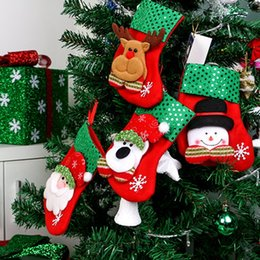 Short Cloth Hanging Bags Canada - Sequin Christmas Stockings Gift Bags Santa Claus Candy Sock Xmas Tree Hanging Ornament Decoration Merry Christmas Snowman Reindeer Sequins