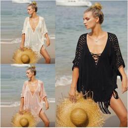$enCountryForm.capitalKeyWord NZ - Beach bikini cover ups swimwear women summer V neck lace-up tassel dress crochet hollow blouse sexy holiday Swimsuit sunscreen loose shirt