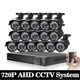 16ch Dvr Security System Canada - 16CH CCTV System AHD 1080P DVR 16CH Surveillance Security KIT With 16pcs 1.0MP Bullet AHD Camera Outdoor Waterproof With HDD