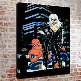 spiderman spray Canada - (No frame) Spiderman and catwoman HD Canvas print Wall Art Oil Painting Pictures Home Decor Bedroom living room kitchen Decoration
