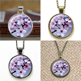 Cherry blossoms neCklaCe online shopping - 10pcs Cherry blossom Glass Photo Cabochon Necklace keyring bookmark cufflink earring bracelet