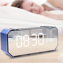 $enCountryForm.capitalKeyWord Canada - Wireless Bluetooth Portable Speaker LED Mirror Surface Alarm Radio Subwoofer Stereo Bass Loudspeaker for Sleeping Office