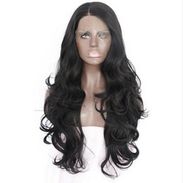China 150% density body wave Natural looking 16-26 inch synthetic lace front wig heat resistant fiber for black white women supplier 18 inch body wave wig suppliers