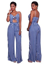 Mamelucos Blancos Azules Baratos-Monos largos para las mujeres Sexy Blue and White Striped Backless Spaghetti Strap informal suelta mono Jumpsuit