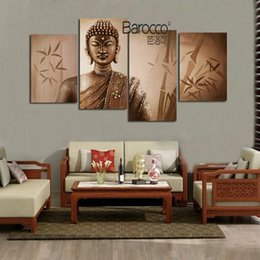 buddha handed oil painting 2019 - 4 Pieces Pure Hand Painted Buddha Figures Oil Painting on thick Canvas Modern Home Wall Art Decoration Paintings Gift ch