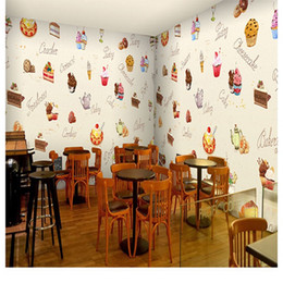 Free Shipping 3D Stereo Custom European Wallpaper Hand Painted Cake Dessert  Delicacy Cafe Tea Ice Cream Shop Restaurant Wallpaper Mural