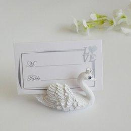 40 pcs lot white swan place card holder wedding decoration table card holder rustic wedding decor free shipping