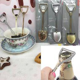Wholesale Novelty Ice Cream Gifts Canada - Multi-function Farmer Shovel Stainless Steel Bottle Opener Spoon For Coffee Ice Cream Dessert, Novelty Gift for Dining Room   Bar