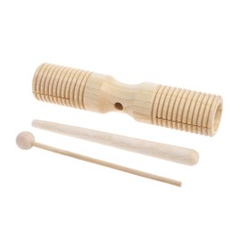 Discount languages learning - Two Tone Wood Block Beater 2-tone Woodblock Guiro Wooden Handle Percussion Toy New