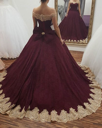 Burgundy Gown Dresses Canada - Ball Gown Arabic Burgundy Formal Evening Dresses Off Shoulder Gold Lace Bow Appliqued 2017 Plus Size Sweet 16 Quinceanera Dress Prom Gowns