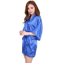 Barato Vestes De Quimono De Seda Curtas-Venda por atacado- Hot Sale Women Silk Satin Short Night Robe Solid Kimono Robe Moda Bath Robe Sexy Bathrobe Femme Women Clothes