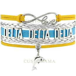 Delta Alloys Canada - Custom-Infinity Love Delta Delta Delta Dolphin Charm Women's Wrap Bracelet Silver Gold Blue Suede Leather Custom Themes
