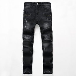 China 2017 New Hot Sale Europe and United States Brand straight Black jeans Men High Quality Mens trousers Hole Biker jeans suppliers