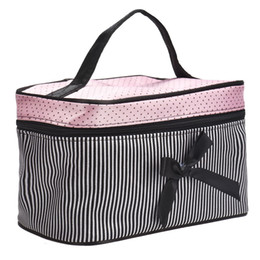 $enCountryForm.capitalKeyWord UK - Wholesale- Make up Bags Cosmetic Bag Women Square Bow Striped Make up case Best Gift girls