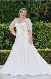 Winter Simple Chiffon Wedding Dress Canada - Plus Size Chiffon Wedding Dresses With Half Sleeve A-Line Applique Beaded Ruffled V-Neck Winter Style Bridal Gowns Vestidos De Noiva W607