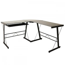 China L-Shape Corner Computer Desk Glass Laptop Table Workstation For Home Office suppliers