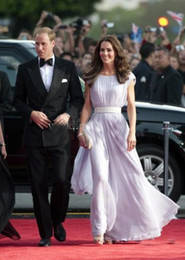 Discount kate middleton long dresses Graceful Chiffon Kate Middleton Red Carpet Dresses Lilac Long Prom Gown Runway Fashion Evening Gown Custom