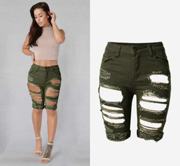 wholesale women ripped jeans Canada - Wholesale- High Waist Skinny Women Jeans Sexy Hole Stretch Jeans Femme Army Green Push Up Ripped Jeans Mujer High Quality Pantalon Femme