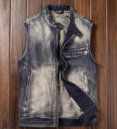 $enCountryForm.capitalKeyWord Canada - Motorcycle Club Vest Mens Denim Biker Vest Stand Collar Vintage Washed Zipper Sleeveless Jacket
