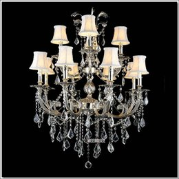 Gold Switches Canada - Classic 12 Arms Silver or Gold Crystal Chandelier Lighting Fixture Lustre Crystal Hanging Lamp with K9 Crysta MD88061