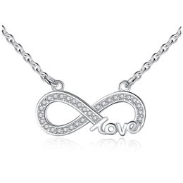 Discount 925 sterling silver letter love necklace - Belawang Wholesale 925 Sterling Silver Letter LOVE Pendant Necklaces for Women Infinity Symbol Necklace With Cubic Zirco