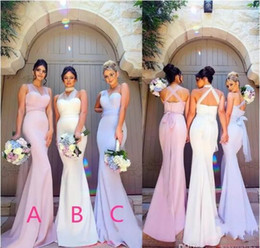 Barato Elástico Para O Vestido De Casamento-Vintage Mermaid Stretchy Elastic Satin Bridesmaid Dresses 2018 Stylish Sheer Straps Maid of Honor Evening Prom Festa Wedding Guest Gowns