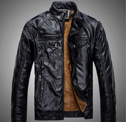 Barato Casacos Em Couro Azul-2018 New PU Leather Jacket Homens Preto Vermelho Marron BLUE Solid Mens Faux Fur Coats Tendência Slim Fit Youth Motorcycle Suede Jacket