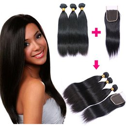 Human Hair Pc Closure NZ - Brazilian Straight Human Hair Weaves Extensions 3 Bundles with Lace Closure Free Middle 3 Part Double Weft Dyeable Bleachable 100g pc