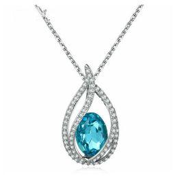Nickel Cadmium Plate Australia - Wholesale jewelry blue crystal zircon platinum plating women's water drop fashion necklace No nickel no lead no cadmium N292