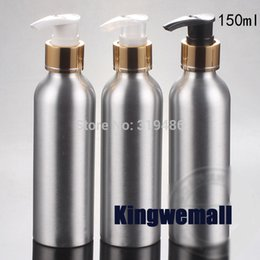 $enCountryForm.capitalKeyWord Canada - 300pcs lot Cosmetic Packaging 150ml Aluminum Lotion bottle, Metal Container with Gold Press Pump, DIY Liquid Storage Tool