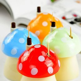 Palillo De Dientes Baratos-4 pic Creativo Tooth pick Bottle Bottle Toothpick Lovely Hermoso y Moda Cartoon Mushroom Forma automático Toothpick Box