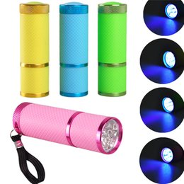 Flashlight Pens Wholesale Australia - hot sale 9LED Mini Torch Ultraviolet detector Manicure mask detection lamp 395nm UV fluorescent agent identification pen gift flashlight LED