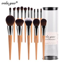 Ensembles D'outils De Voyage Pas Cher-Vela .Yue Pro Set de brosses de maquillage 15Pcs Travel Face Cheek Eyes Lips Beauty Tools Kit avec Case Cruelty -Free Technology Collections