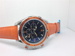 Leather strap mens wrist watch online shopping - Hot sale Automatic watch luxury mens watches mechanical stainless steel wrist watch orange leather strap