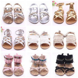 Hard Sole Baby Shoes Wholesale Canada - Baby Shoes Kids Tassels Sandals Summer Girls Princess First Walker Shoes Toddlers PU Leather Shoes Infant Mocassions Hard Sole Sandals F430