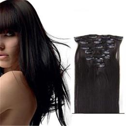 Clip Hair Black Australia - Clip Human 16 - 22 Inch Color #1b Human Hair Clip In Extensions natural black Hair Extension