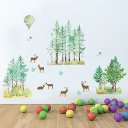 AnimAl grAphics online shopping - Forest Fawn Wall Stickers Living Room Bedroom Background Decoration Mural PVC Transparent Film Sticker Elegant Fashion Concise jm J R
