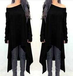 Plus Size Irregular Hem Dress NZ - New Autumn Winter Women Dress Long Sleeve Slash Neck Cotton Vestidos Fashion Irregular Hem Maxi Dress Plus Size S-3XL Vestidos