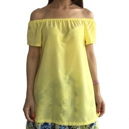 Chemise Jaune Épaulée Pas Cher-Vente en gros - New Arrival 2016 Summer Fashion Plus Taille XXXXL Solid Yellow Slash Neck Off The Shoulder Chiffon T Shirt Women Tops 5XL 6XL