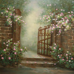 backdrop computer painted scenic background Canada - White Pink Flowers Garden Backgrounds Digital Painted Brick Wall Steel Gate Outdoor Wedding Scenic Photography Backdrops Kids Backdrop