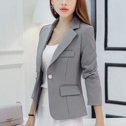 Blazers Azules Para Mujer Baratos-Spring Autumn Women Blazers and Chaquetas 2017 Ropa para mujer New Fashion manga larga Azul rojo gris Trabajo Solid Party Club Wear