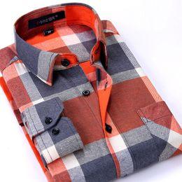 formal pink shirt design 2018 - Wholesale- Autumn 2017 New Flannel Men Plaid Shirts Luxury Slim Long Sleeve Brand Design Formal Business Fashion Dress W