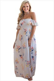 Barato Padrão Para Vestido De Festa Curto-New Fashion Vestidos de festa de verão Slash Neck Short Sleeve Draped Paneled Empire Vestidos Floral Pattern Contrasted Evening Long Dresses