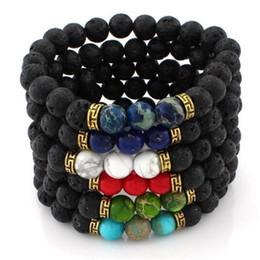 $enCountryForm.capitalKeyWord Australia - Chakra Bracelet Mens Black Lava Beads Bracelet Healing Balance Beads Reiki Buddha Prayer Natural Stone Yoga Charm Bracelet For Women