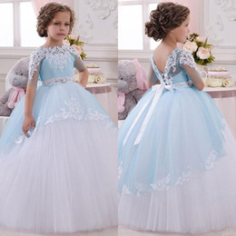 marvelous wedding dresses UK - Marvelous 2017 Pattern Flower Girl Dresses with Pretty Lace Applique Half Length Sleeves Ball Gown Light Blue and White Kids Wedding Dresses